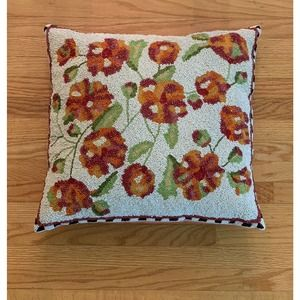 Mackenzie Childs Floral Beaded Throw Pillow Accent